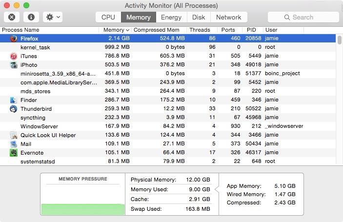 Activity Monitor Memory Pressure