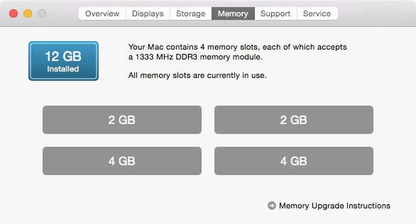 Memory pane of About This Mac